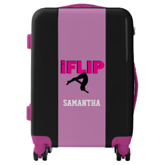 Gymnastics Pink and Black personalized luggage
