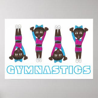 Gymnastics Pink Leotard Tumbling Gymnast Girl Art Poster
