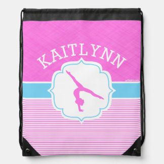 Gymnastics Pink Stripes with Baby Blue Drawstring Bag