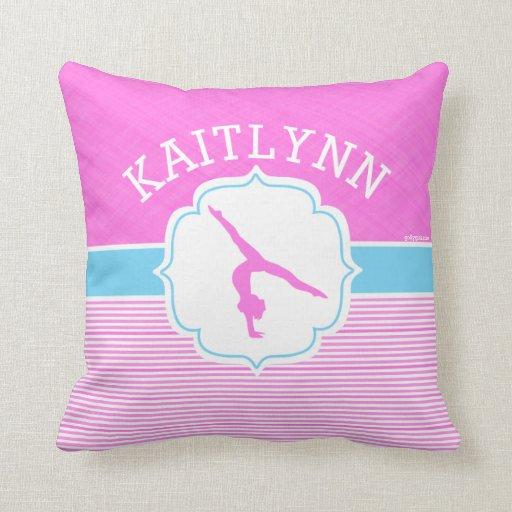 Gymnastics Pink Stripes With Baby Blue Throw Pillow Zazzle