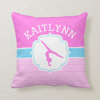 Gymnastics Pink Stripes with Baby Blue Throw Pillow