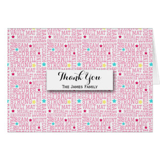 Gymnastics Pink White Word Art Personalized Card