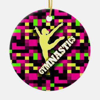 Gymnastics Pink Yellow Green Ceramic Ornament