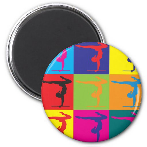 Gymnastics Pop Art 2 Inch Round Magnet
