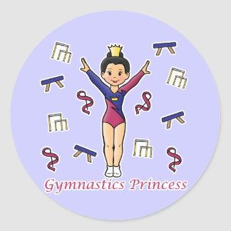 Gymnastics Princess Classic Round Sticker