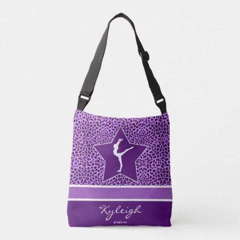 Gymnastics Purple Cheetah Print with Monogram Crossbody Bag