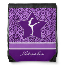 Gymnastics Purple Cheetah Print with Monogram Drawstring Backpack