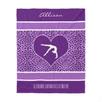 Gymnastics Purple Cheetah Print with Monogram Fleece Blanket