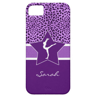 Gymnastics Purple Cheetah Print with Monogram iPhone 5 Covers