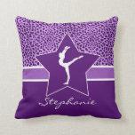 Gymnastics Purple Cheetah Print with Monogram Pillow