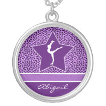 Gymnastics Purple Cheetah Print with Monogram Silver Plated Necklace