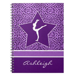 Gymnastics Purple Cheetah Print with Monogram Spiral Notebook