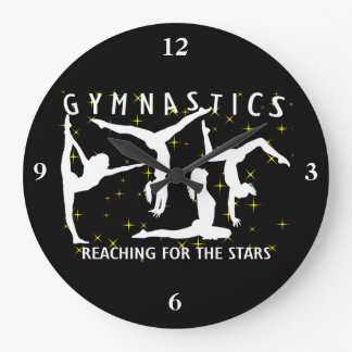 Gymnastics Reaching For The Stars Large Clock