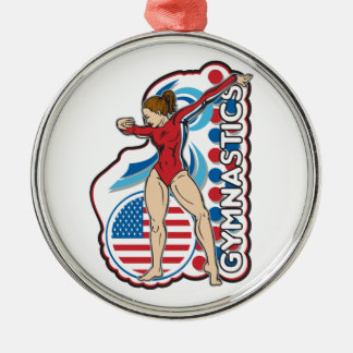 Gymnastics Round Metal Christmas Ornament