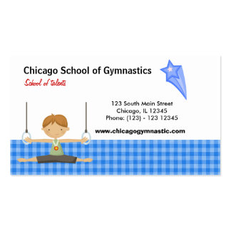 Gymnastics School (Blue) Double-Sided Standard Business Cards (Pack Of 100)