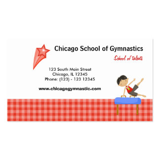 Gymnastics School (Red) Double-Sided Standard Business Cards (Pack Of 100)