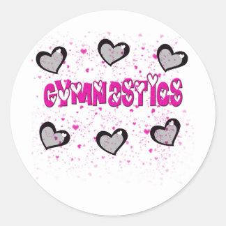 Gymnastics splatter hearts classic round sticker