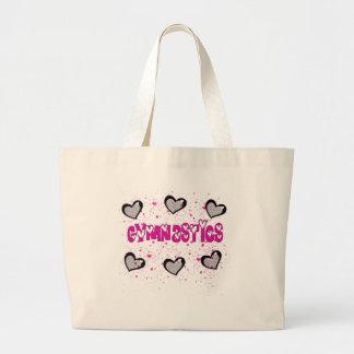 Gymnastics splatter hearts jumbo tote bag