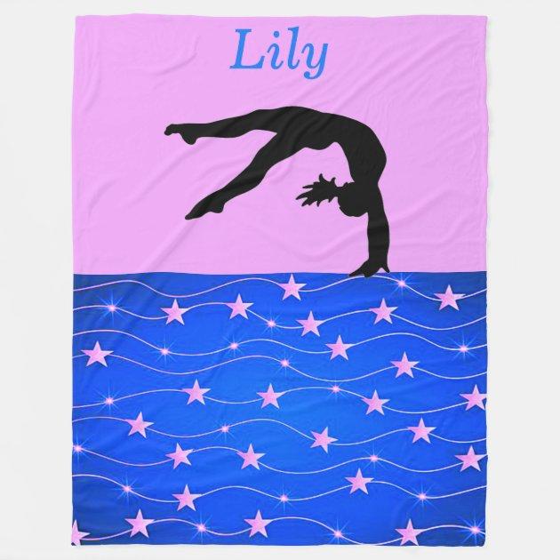 Gymnastics Stars Personalized Fleece Blanket Zazzle Com