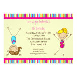 Gymnastics Stick Figure Birthday Invitation
