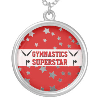 Gymnastics Superstar Red and Silver Stars Silver Plated Necklace