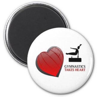 GYMNASTICS TAKES HEART 2 INCH ROUND MAGNET
