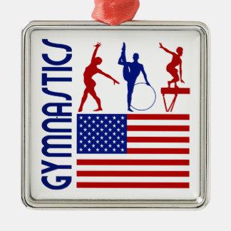 Gymnastics United States Square Metal Christmas Ornament