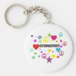 Gymnastics with Mixed Graphics Basic Round Button Keychain