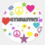 Gymnastics with Mixed Graphics Classic Round Sticker