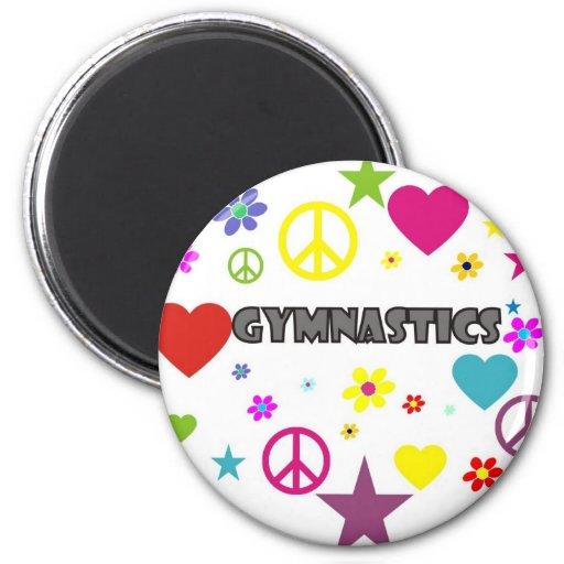 Gymnastics with Mixed Graphics Fridge Magnet