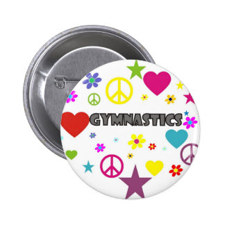 Gymnastics with Mixed Graphics Pinback Button