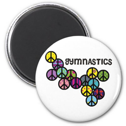 Gymnastics with Peace Sign Fill Refrigerator Magnet
