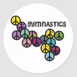Gymnastics with Peace Sign Fill Classic Round Sticker