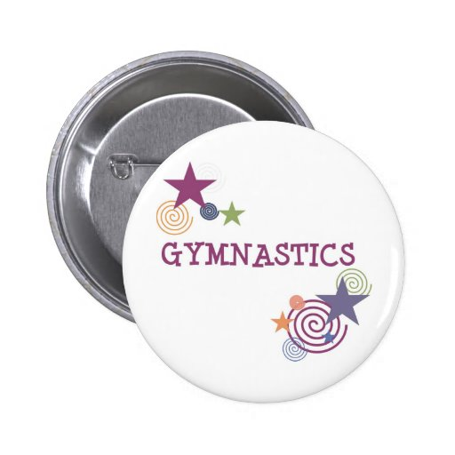 Gymnastics with Swirly Star Pinback Buttons
