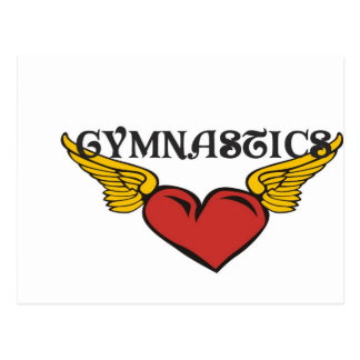 Gymnastics with Winged Heart Postcard