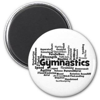 Gymnastics Word Cloud 2 Inch Round Magnet