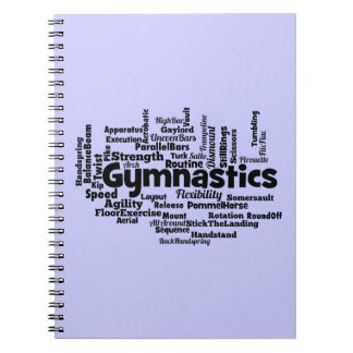 Gymnastics Word Cloud Spiral Notebooks