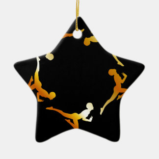 Gymnasts in action ceramic ornament