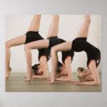 Gymnasts posing upside down print