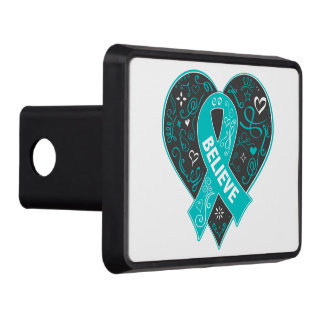 Gynecologic Believe Ribbon Heart Hitch Covers