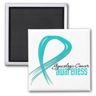 Gynecologic Cancer Awareness Grunge Ribbon 2 Inch Square Magnet