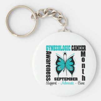 Gynecologic Cancer AWARENESS Month Butterfly Basic Round Button Keychain