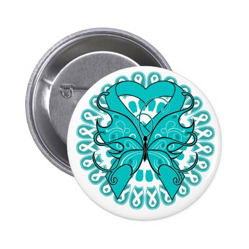 Gynecologic Cancer Butterfly Circle of Ribbons Buttons