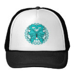 Gynecologic Cancer Butterfly Circle of Ribbons Trucker Hats