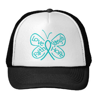 Gynecologic Cancer Butterfly Inspiring Words Mesh Hat