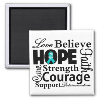 Gynecologic Cancer Collage of Hope 2 Inch Square Magnet
