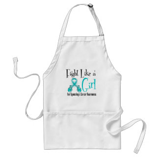 Gynecologic Cancer Cool Retro Fight Like a Girl Adult Apron