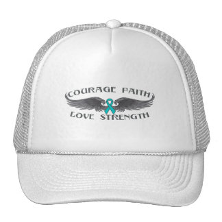 Gynecologic Cancer Courage Faith Wings Trucker Hat