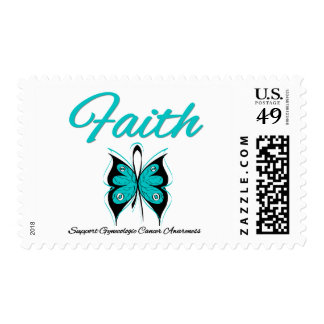 Gynecologic Cancer Faith Butterfly Ribbon Postage Stamps