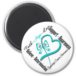Gynecologic Cancer Faith Hope Love Butterfly 2 Inch Round Magnet